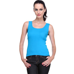 TeeMoods Women's Solid Blue Tank Top-2