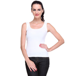 TeeMoods Women's Solid White Tank Top-2