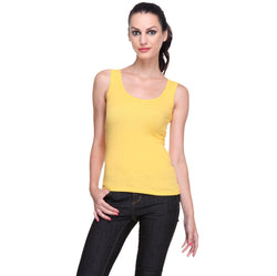 TeeMoods Women's Solid Yellow Tank Top-2