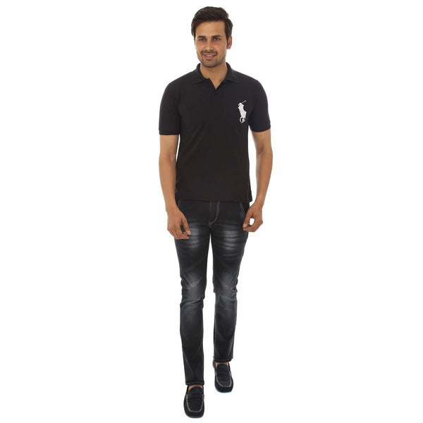 Black Polo T shirt - Full Front View