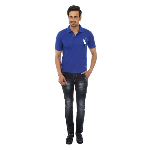 Blue Polo T shirt - Full Front View