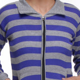 TeeMoods Front Open, Zippered Full Sleeves Blue Top-4