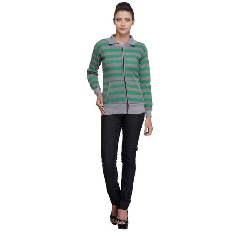 Front Open, Zippered Full Sleeves Green Top