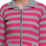 TeeMoods Front Open, Zippered Full Sleeves Pink Top-4