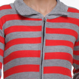 TeeMoods Front Open, Zippered Full Sleeves Red Top-5