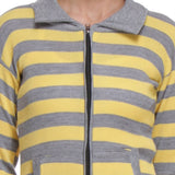 Front Open, Zippered Full Sleeves Yellow Top-5
