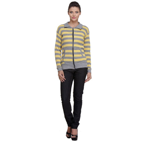 Front Open, Zippered Full Sleeves Yellow Top