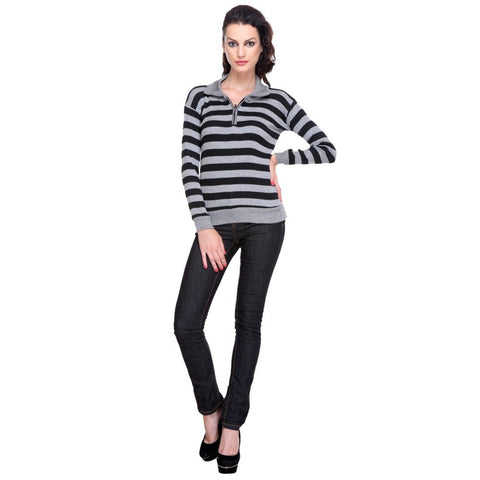 Full Sleeves Striped Black Top