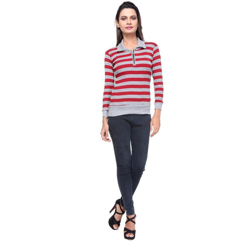 Full Sleeves Striped Maroon Top
