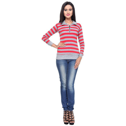Full Sleeves Striped Red Top
