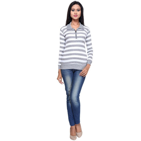Full Sleeves Striped White Top