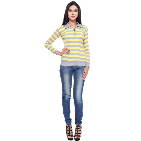 Full Sleeves Striped Yellow Top