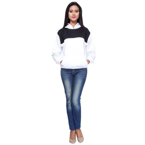 Womens Colorblock Black n White Pullover Hoodie