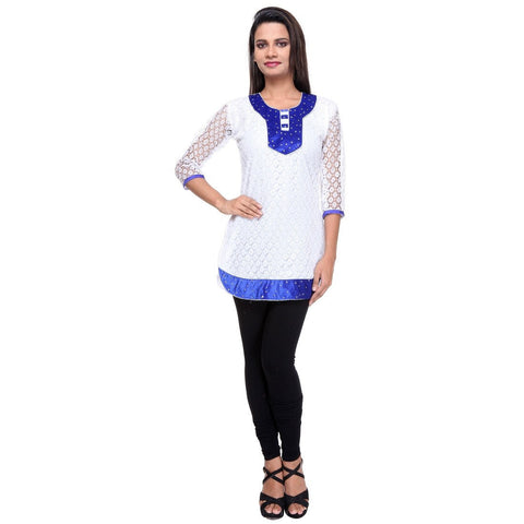 TeeMoods Cotton Net KURTI -Blue-Full Front View
