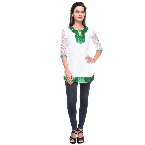 TeeMoods Cotton Net KURTI -Green-Full View