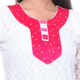 TeeMoods Cotton Net KURTI -Pink-Neck View