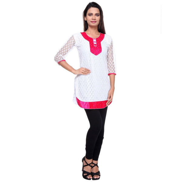 TeeMoods Cotton Net KURTI -Pink-Full View