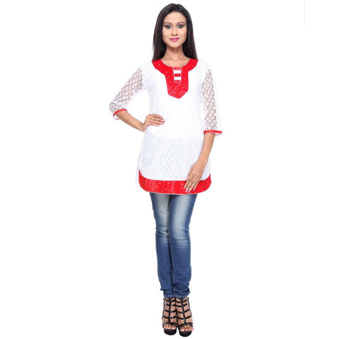 TeeMoods Cotton Net KURTI -Red-Full Front