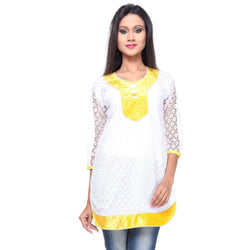 TeeMoods Cotton Net KURTI -Yellow-Front