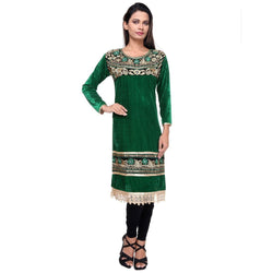 Embroidered Fancy Green Velvet KURTI -Front
