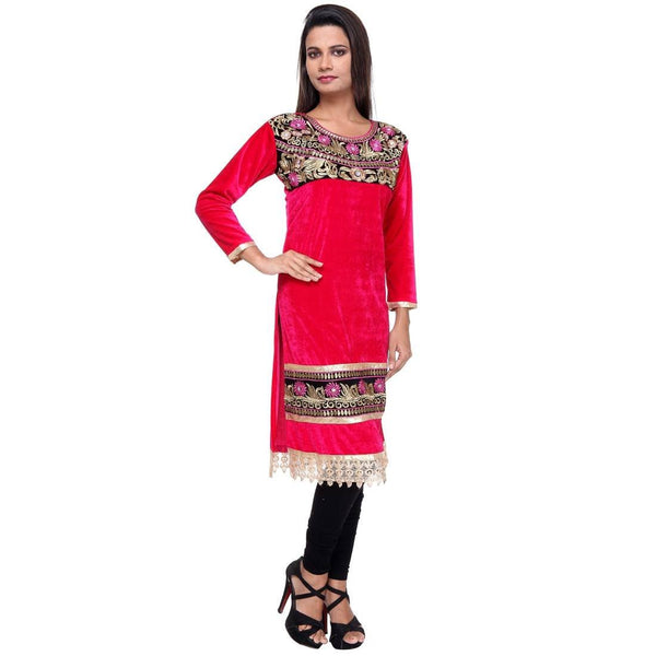 Embroidered Fancy Dark Pink Velvet KURTI -Front