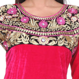 Embroidered Fancy Dark Pink Velvet KURTI -Embroidered Yoke