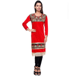 Embroidered Fancy Red Velvet KURTI -Front