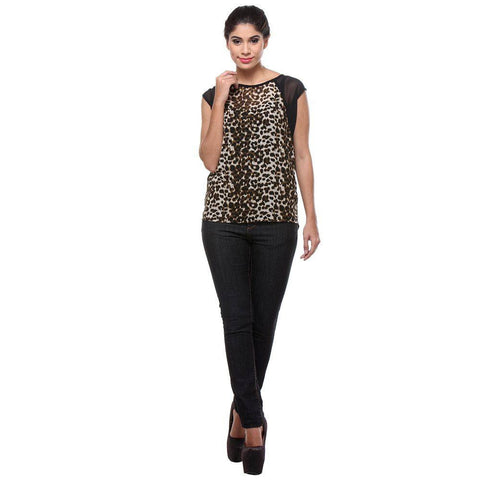 TeeMoods Printed Georgette Women's Top-Full Front View