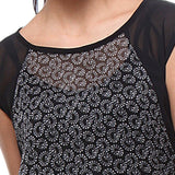 TeeMoods Printed Black Georgette Women's Top-Print