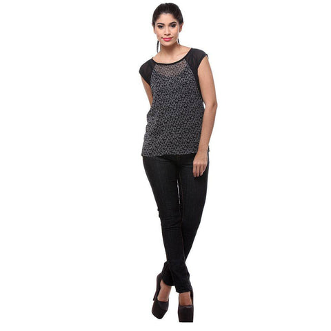 TeeMoods Printed Black Georgette Women's Top-Full Front