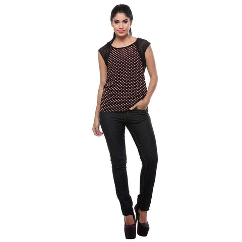 TeeMoods Printed Red and Black Georgette Women's Top-Full Front View