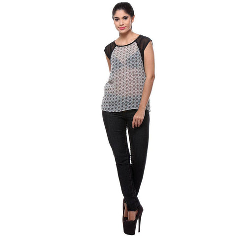 White Print Georgette Women's Top-Full Front View