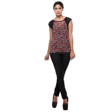 Red Floral Print Georgette Women's Top-Full View