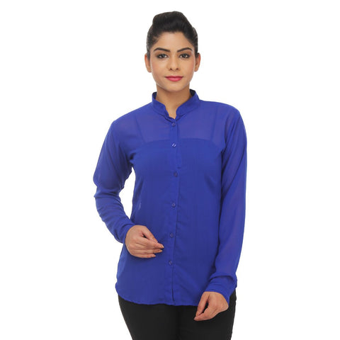 TeeMoods Full Sleeves Soild Formal Blue Georgette Shirt  Apps   Save