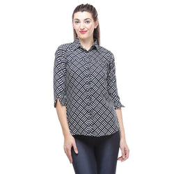 Crepe Shirt in Basket Weave Print-1