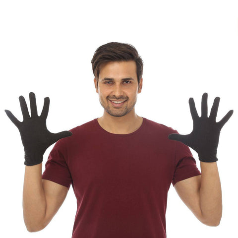 TeeMoods Protective Black Cotton Gloves for Men