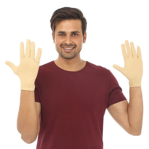 TeeMoods Protective Beige Cotton Gloves for Men-Front