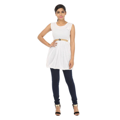 Sleeveless Womens WhiteTunic Top