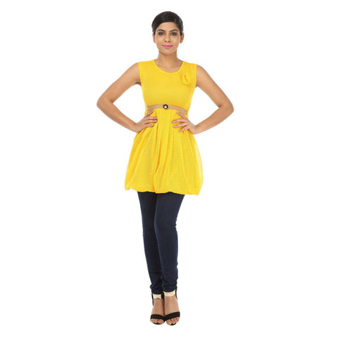 TeeMoods Sleeveless Womens Yellow Tunic Top