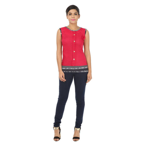 Sleeveless Dark Pink Women's Top