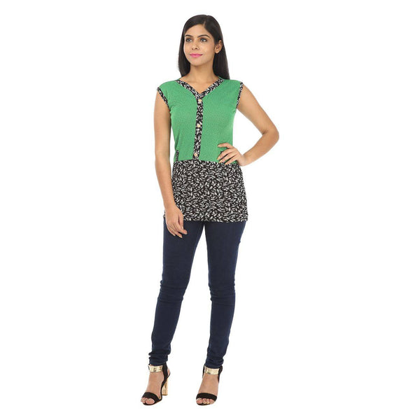 Sleeveless Green Women's Tunic Top-2