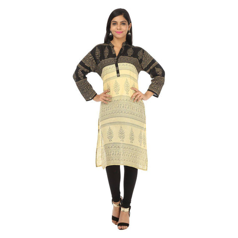 Classy Jaipuri Print Black and Cream Cotton KURTI