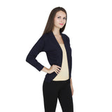2nd Side pose of Teemoods Womens Cotton 3/4th Sleeves Navy Blue Shrug, Summer Shrug for Ladies