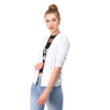Teemoods Women's Cotton Full Sleeves White Shrug with pocket-side1
