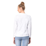 Teemoods Women's Cotton Full Sleeves White Shrug with pocket-back