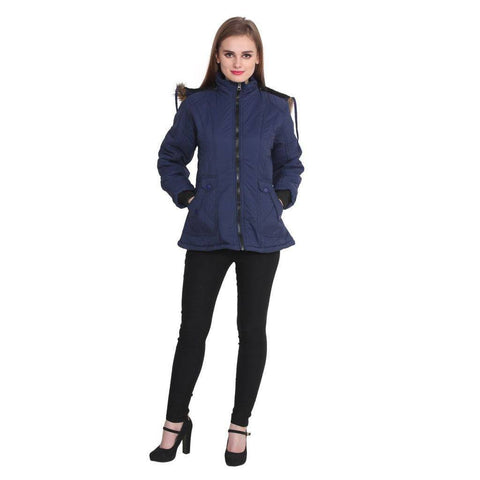 Full Sleeves Navy Winter Jacket for Women