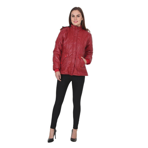 TeeMoods Full Sleeves Maroon Winter Jacket  for Women