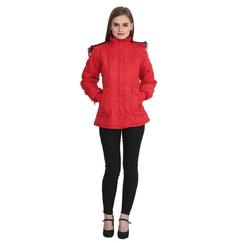 TeeMoods Full Sleeves Red Winter Jacket  for Women