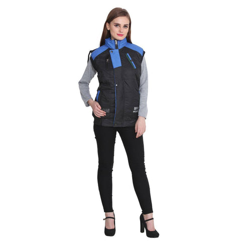 Buy Teemoods Sleeveless Black And Blue Winter Jacket For Women Online
