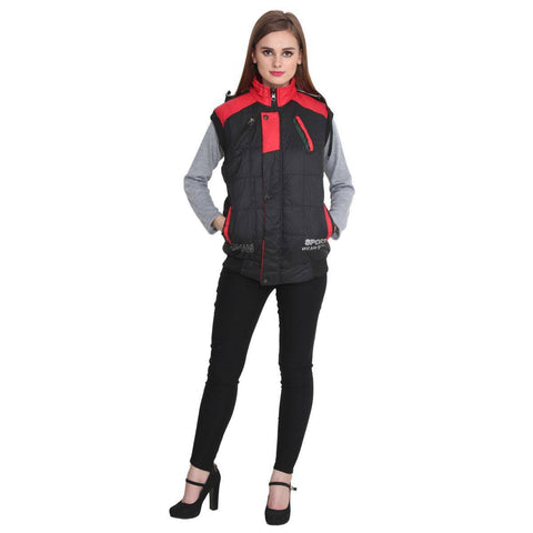 TeeMoods Sleeveless Black and Red Winter Jacket  for Women